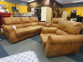 Tan leather sofa with 2 armchairs