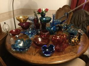 MOVING SALE = VINTAGE BLOWN GLASS - DIFFERENT PIECES