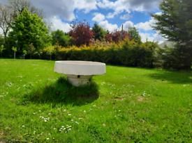 Pair of large bird water bath fountain white glazed garden