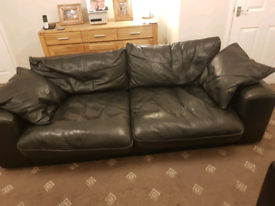 4 seater matching black leather settee and chair