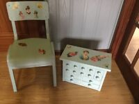 Beautiful Victorian Decoupage Set of Drawers & Child's Chair