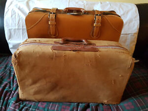 Mid-century Leather Matching Suitcases/caramel Brown.