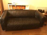 Black Leather IKEA Sofa