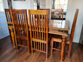 Solid Mango Wood Dining Table and Six Chairs
