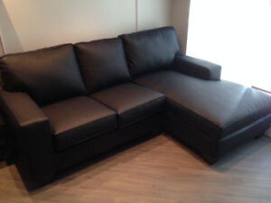 Black Leather Sectional Couch (Right-Facing) for Sale - $600 OBO