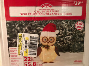 Brand New Holiday Decor OWL Sculpture Lighted Warm White LED