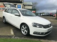 VW PASSAT 2.0 TDI ESTATE 140ps BLUE-MOTION TECH SE WHITE 73000 MILES FSH £30 TAX