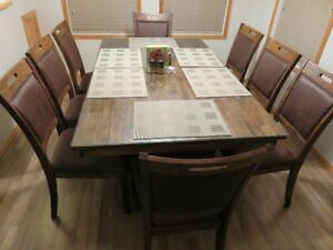 Acacia Hardwood Dining Table & 8 Chairs