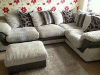 Very comfy corner sofa and pouffe
