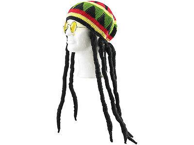 Dreadlock-Mütze Rastaman Rasta mit Brille Jamaika Rastafari Perücke Rastalocken