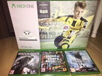 Xbox one S, Unwanted gift PERFECT condition with 4 games and turtle beach headset