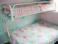 Metal Frame Twin Bunk Bed Over 'C'-shaped Futon- White