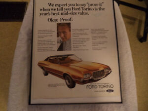 OLD FORD TORINO CLASSIC CAR FRAMED ADS