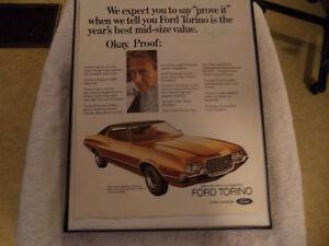 OLD FORD TORINO CLASSIC CAR FRAMED ADS Windsor Region Ontario image 1