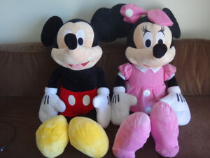 "Disney $100 Mickey + $100 Minnie Mouse 44"" Jumbo Plush Toys"