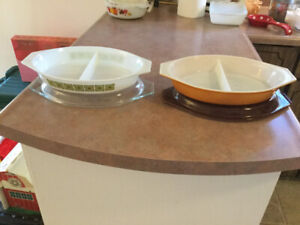 Two Vintage Pyrex Divided Dishes
