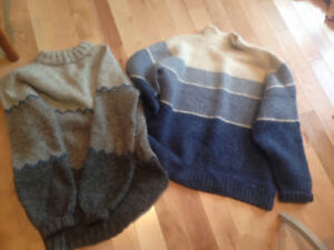 Hand-knit sweaters - blue or grey Icelandic wool