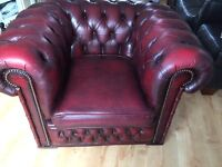 Oxblood red leatherchesterfield chair!