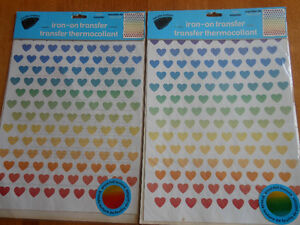 Brand new -Iron-On Foil Rainbow Hearts Transfers
