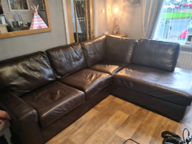 Harvey's leather corner sofa