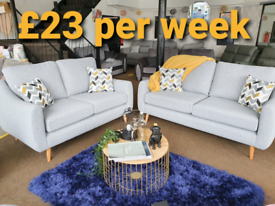 NEW Ashley Grey 3 + 2 Seater Sofa Suite Scandi Retro DELIVERY AVAILAB