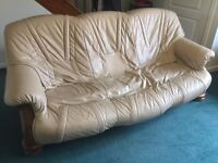 3 seater & 2 seater cream leather sofa