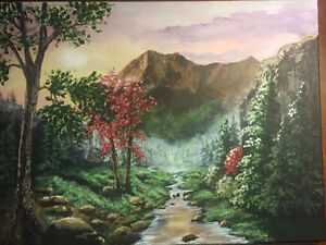 Picturesque Original Mountain Scene in Acrylic