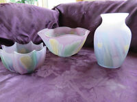 RUEVEN (NOUVEAU ART GLASS CO. OF CANADA) HAND PAINTED PIECES