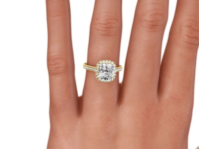 2.5 Carat Cushion  F/si2  Diamond  Halo Engagement Ring 14k Yellow Gold