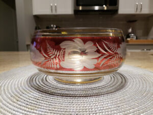 Antique ruby etched cranberry glass bowl
