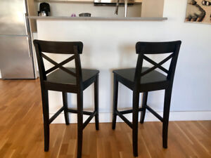 Ikea INGOLF bar stools (2) with backrest, brown-black.