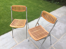1960s Solid teak and chrome folding chairs x 2