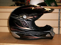 ZEUS Solid Black/Gold, Spector Ghost Design, MotoCross Helmets.