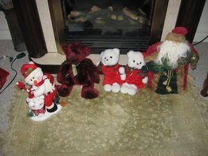 Christmas items, teddy bears, Santa, also fiber optic santa  etc