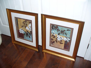 Two large Asian influence framed  prints