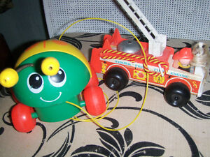 Sindy doll,$15, Vintage Fisher Price fire truck,  ladybug pull