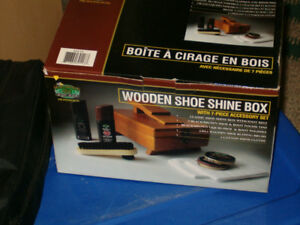 Wooden Flip Top Shoe Shine Kit Box w/ Brushes!