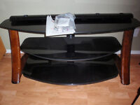 TV / Accessories three tier glass top table with mounting..