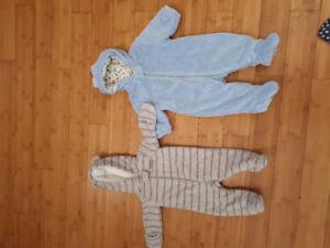 Two 0-6 month boys snowsuit