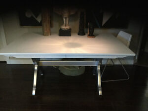 Painted solid wood table with 2 leaves