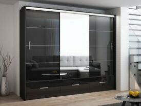 **BLACK AND WHITE HIGH GLOSS** BRAND NEW 3 OR 2 DOOR MARSYLIA WHITE & BLACK SLIDING WARDROBE