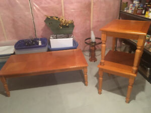 Maple Coffee Table and two side tables