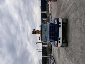 camion international avec grue flèche