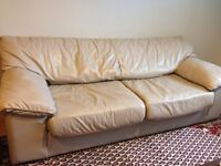 Ivory/Beige Leather Couch/Sofa - great condition