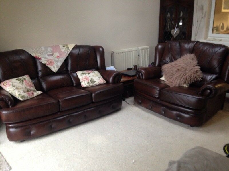 Leather 3 2 Seater Sofas Saxon