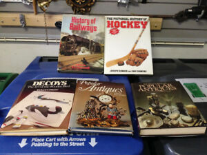 HARD COVERED BOOKS ANTIQUES TRAINS HOCKEY DECOYS