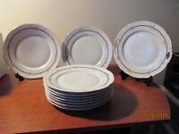 Victoria Austria Porcelain Pink Rose Dinner Plates & Cake Plate
