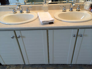 Bathroom Vanity with Koehler double sinks and faucets - $200