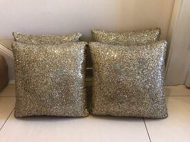 4 gold glitter cushions
