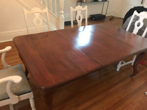 Antique solid wood dining table - $150
